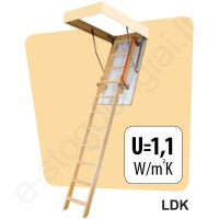Fakro laiptai LDK 70x120 h=3,00m mediniai, 2 segmentų, SUSTUMIAMI