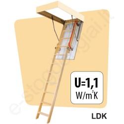 Fakro laiptai LDK 60x120 h=2,8m mediniai, 2 segmentų, SUSTUMIAMI