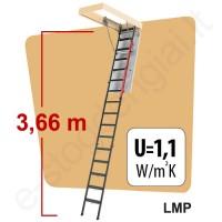 Fakro laiptai LMP 60x144 h=3,66m sudedami metaliniai