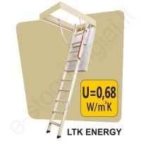 Fakro laiptai LTK ENERGY 70x100 h=2,8m mediniai, ŠILTI, U=0,68 W/m²K (4 segmentų)