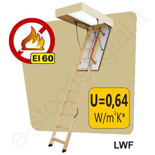 PRIEŠGAISRINIAI laiptai į palėpę Fakro LWF 70x120 h=2,8m mediniai, EI=60 min
