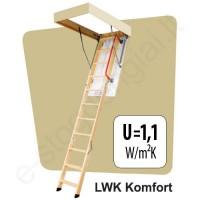 Palėpės laiptai Fakro LWK Komfort 70x100 h=2,8m mediniai KLASIKINIAI (4 segmentų)