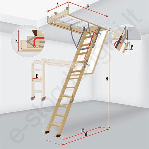 fakro pal p s laiptai lwl lux 60x120 h 2 8m sudedami mediniai. Black Bedroom Furniture Sets. Home Design Ideas