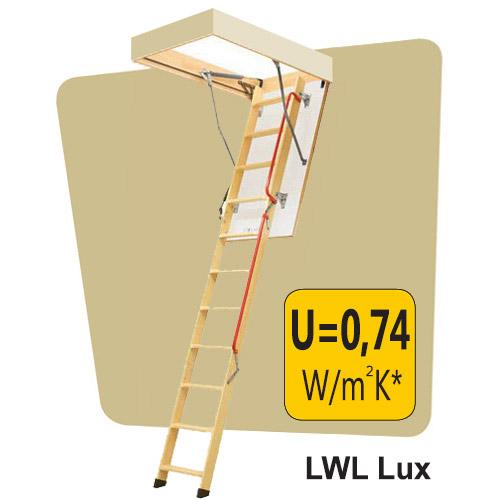 Fakro palėpės laiptai LWL LUX 70x130 h=2,8m sudedami mediniai