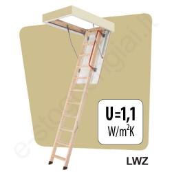 Palėpės laiptai Fakro LWZ 60x120 h=2,8m mediniai su metaliniu rėmu