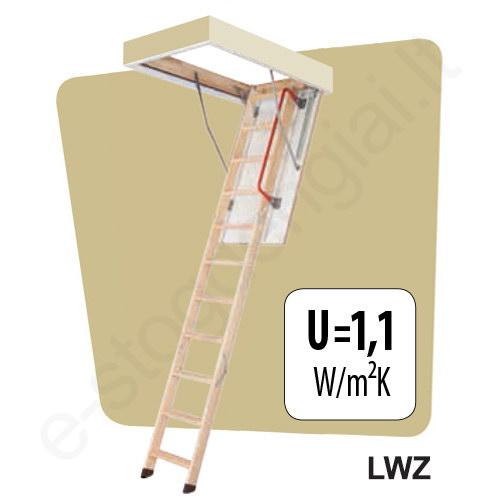 Palėpės laiptai Fakro LWZ 70x120 h=2,8m mediniai su metaliniu rėmu
