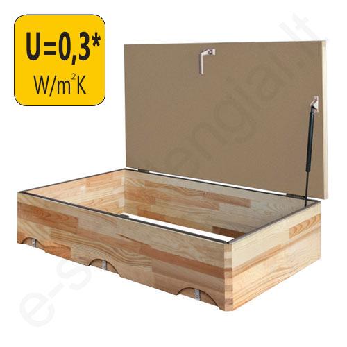 Fakro viršutinis liukas LXW 70x100 Šilumos izoliacija U=0,3 W/m²K, h=20 cm