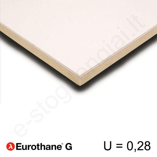 Recticel Eurothane G poliuretano plokštė su gipso kartono apdaila 1200x2600x80mm, 1vnt/3,12m²