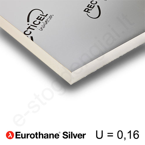 Recticel Eurothane Silver poliuretano plokštė stogui 1200x2500x140mm, 1vnt/3m²