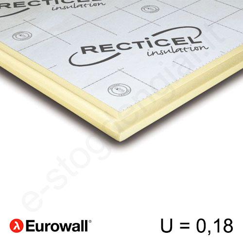 Recticel Eurowall poliuretano plokštė su išdroža stogui 1200x600x120mm, 1vnt/0,72m²