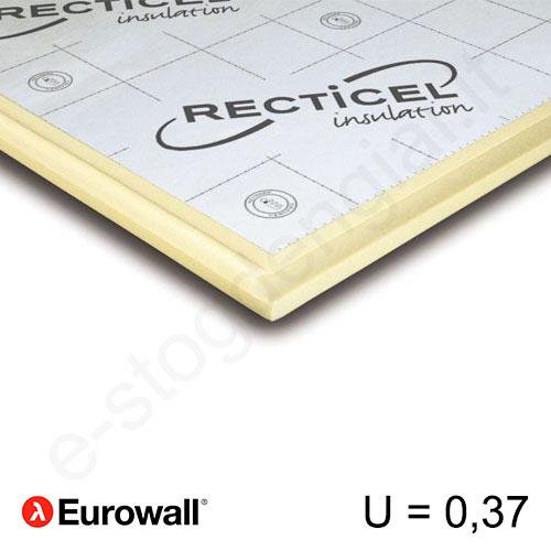 Recticel Eurowall poliuretano plokštė su išdroža stogui 1200x600x60mm, 1vnt/0,72m²