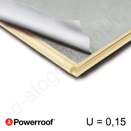 Recticel Powerroof poliuretano plokštė su išdroža stogui 1200x2500x150mm, 1vnt/3m²