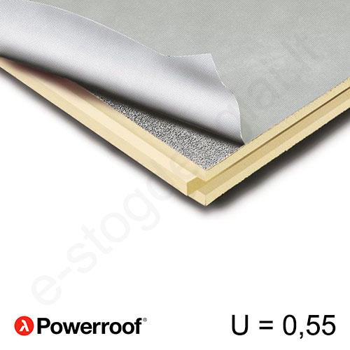 Recticel Powerroof poliuretano plokštė su išdroža stogui 1200x2500x40mm, 1vnt/3m²