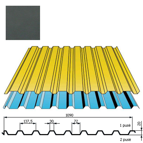 Stogo danga DP20 0,5mm poliesteris 27mk grafito, m²
