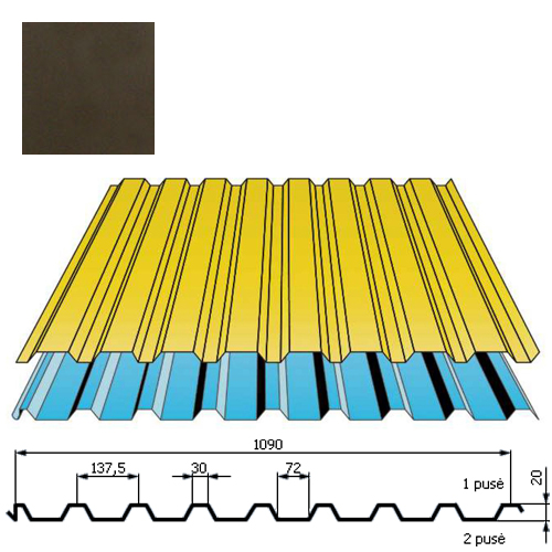 Stogo danga DP20 0,5mm poliesteris 27mk tamsiai ruda, m²