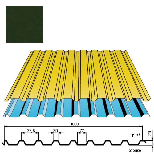 Stogo danga DP20 0,5mm poliesteris 27mk t.žalia, m²