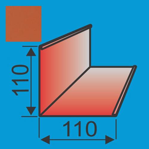 Išorinis kampas 110x110 L=2000 Raudona Molio poliesteris 0,5mm, vnt