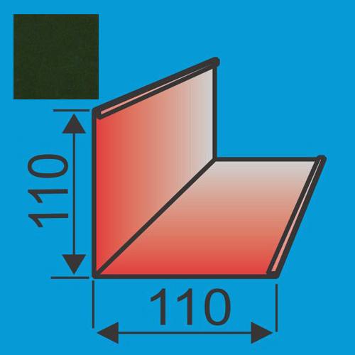 Išorinis kampas 110x110 L=2000 Tamsiai Žalia poliesteris 0,5mm, vnt