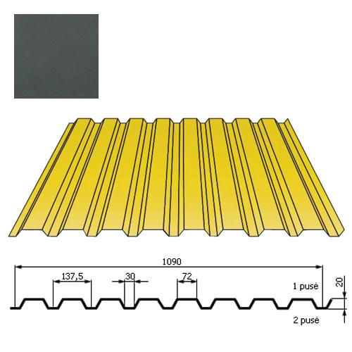 Kamino sienos profilis DP18 1,09x2m Grafito Pilka poli 0,5mm, vnt