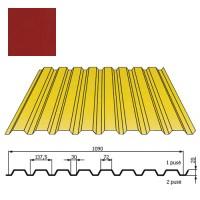 Kamino sienos profilis DP18 1,09x2m Raudona Purpurinė poli 0,5mm, vnt