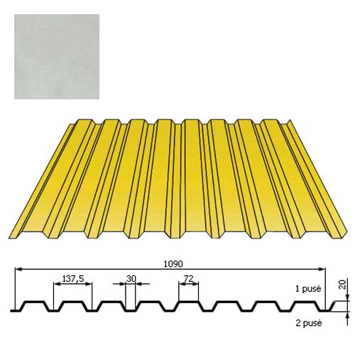 Kamino sienos profilis DP18 1,09x2m Sidabrinė poli DP 0,5mm, vnt