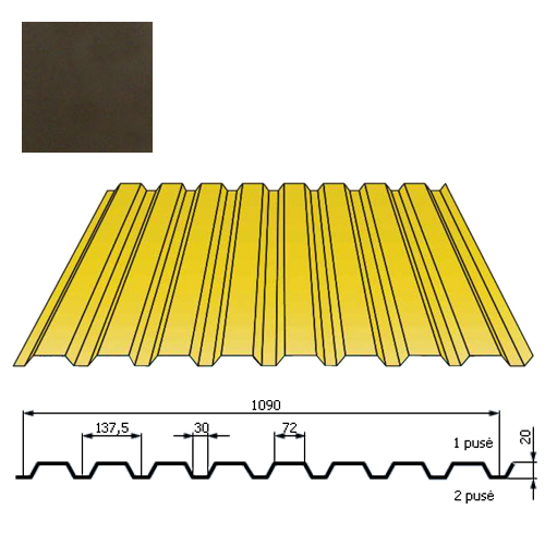 Kamino sienos profilis DP18 1,09x2m Tamsiai Ruda poli 0,5mm, vnt