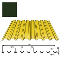 Kamino sienos profilis DP18 1,09x2m Tamsiai Žalia poli 0,5mm, vnt
