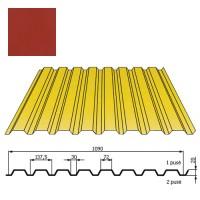 Kamino sienos profilis DP18 1,09x2m Raudona Vyšnia poli DP 0,5mm, vnt