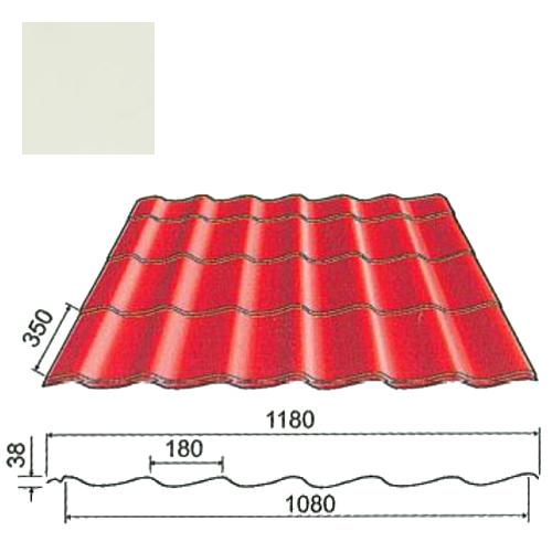 Plieninė čerpė Origami 0,5mm Prelaq Nova 50mk balta, m²