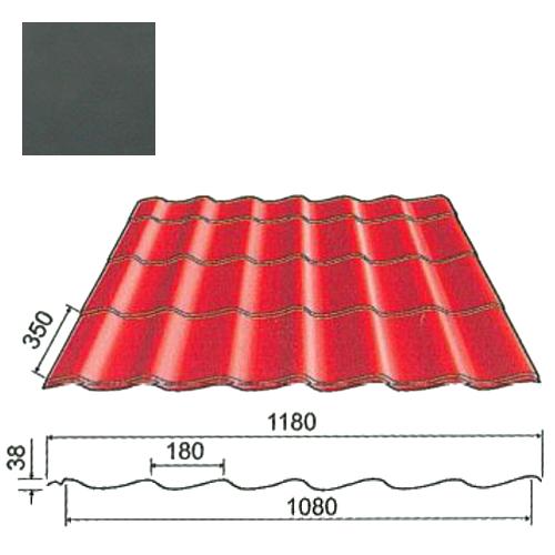 Plieninė čerpė Origami 0,5mm Prelaq Nova 50mk grafito, m²