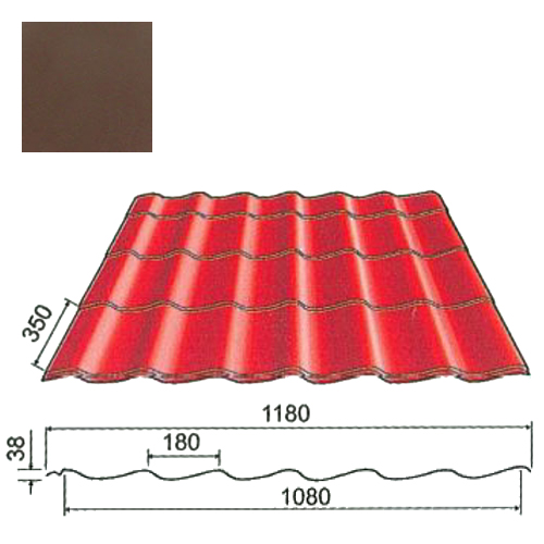 Plieninė čerpė Origami 0,5mm poliesteris 25mk ruda Arcelor Mittal, m²