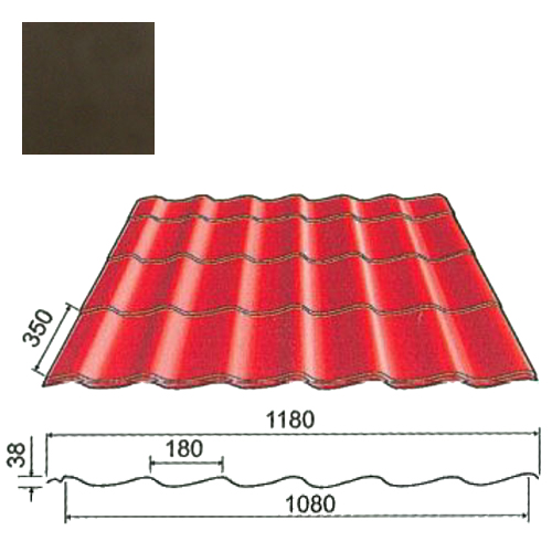 Plieninė čerpė Origami 0,5mm Prelaq Nova 50mk tamsiai ruda, m²
