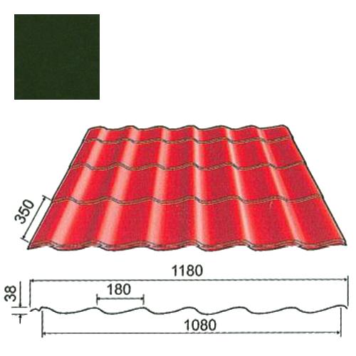 Plieninė čerpė Origami 0,5mm Prelaq Nova 50mk t.žalia, m²