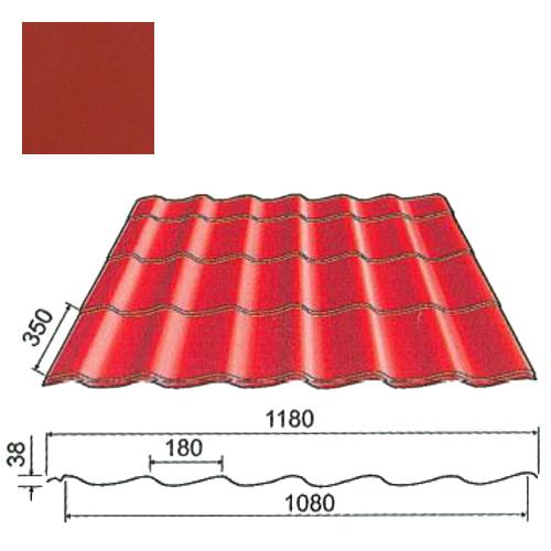 Plieninė čerpė Origami 0,5mm poliesteris 27mk vyšnia, m²