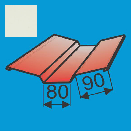Viršutinė sąlaja 130x130 L=2000 Balta poliesteris 0,5mm, vnt