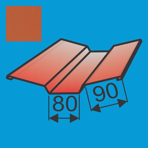 Viršutinė sąlaja 130x130 L=2000 Raudona Molio poliesteris 0,5mm, vnt