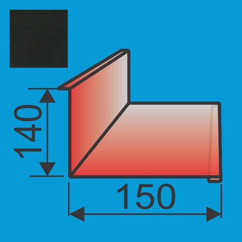 Stogo-sienos kampas 140x150 L=2000 Juoda poliesteris 0,5mm, vnt