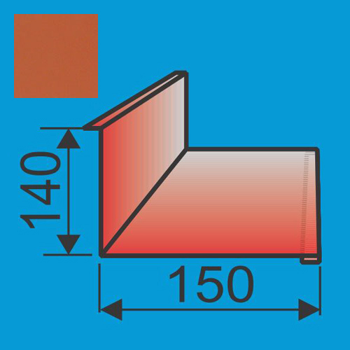 Stogo-sienos kampas 140x150 L=2000 Raudona Molio poliesteris 0,5mm, vnt