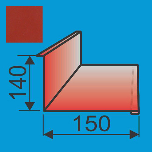 Stogo-sienos kampas 140x150 L=2000 Raudona Vyšnia poliesteris 0,5mm, vnt