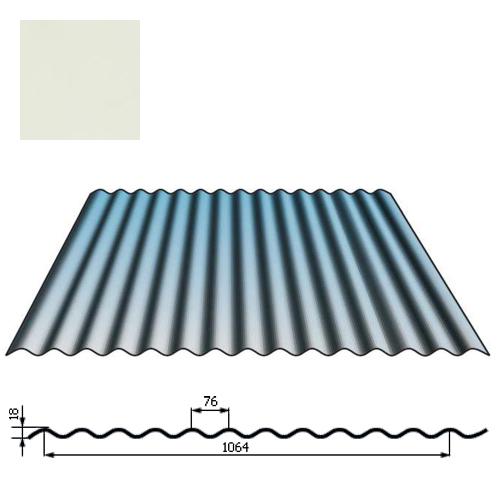 Stogų sienų danga SIN18 0,5mm poliesteris 27mk balta, m²