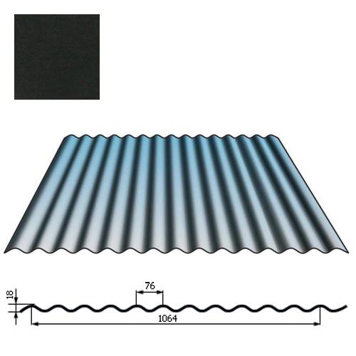 Stogų sienų danga SIN18 0,5mm poliesteris 27mk juoda, m²