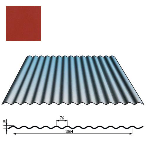 Stogų sienų danga SIN18 0,5mm poliesteris 27mk vyšnia, m²