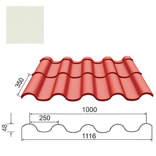Plieninė čerpė Tegula 0,5mm poliesteris 27mk balta, m²