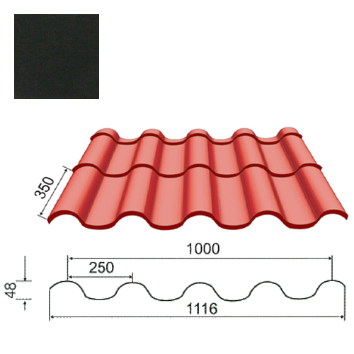 Plieninė čerpė Tegula 0,5mm Prelaq Nova 50mk juoda, m²