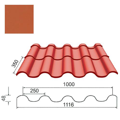 Plieninė čerpė Tegula 0,5mm poliesteris 27mk molio, m²