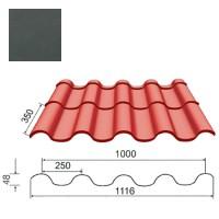 Plieninė čerpė Tegula 0,5mm poliesteris 27mk grafito, m²