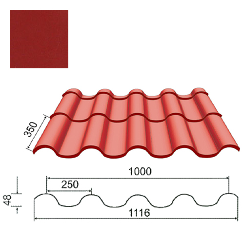 Plieninė čerpė Tegula 0,5mm poliesteris 27mk purpurinė, m²