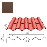 Plieninė čerpė Tegula 0,5mm poliesteris 27mk ruda, m²