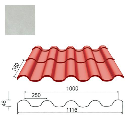 Plieninė čerpė Tegula 0,5mm poliesteris 27mk sidabrinė, m²