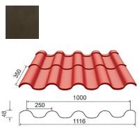 Plieninė čerpė Tegula 0,5mm poliesteris 27mk tamsiai ruda, m²